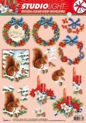 A4 Stansvel Studio Light Kerst SL 215 Eekhoorn/kaarsen/krans