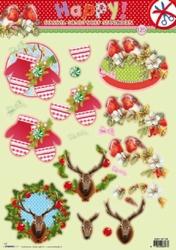 A4 Stansvel Studio Light Kerst 125 Happy Vogel/wanten/hert