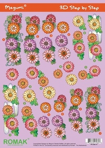 A4 Knipvel Megumi 41 Roze/lila rood/oranje bloemen