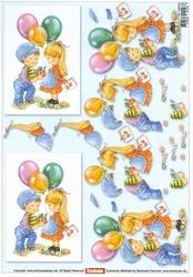 A4 Knipvel Stenbode 466002 Kinderen met balonnen