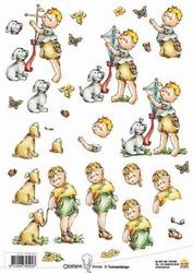 A4 Knipvel Ollyfant 1201 jongen met hondje