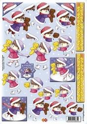 A4 Kerstknipvel Card deco CD10087 Meisje met beertje
