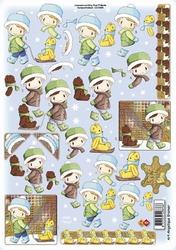 A4 Kerstknipvel Card deco CD10088 Jongetje met beertje