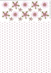 A4 Achtergrondvel Nel van Veen 3310 bloem-stip roze