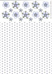 A4 Achtergrondvel Nel van Veen 3311 bloem-stip blauw