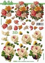 A4 Knipvel Le Suh 777021 Bloemen witte/roze rozen