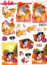 A4 Kerstknipvel Le Suh 650012 Hond in mand/poezen
