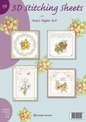 Ann's Paper Art 3D Stitching Sheets 19 bloemen/vogel
