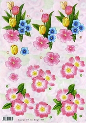 3D Knipvel Anne Design VBK 2507 Tulpen en roze bloemen