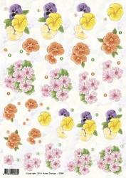 3D Knipvel Anne Design VBK 2584 bloemen viooltjes ea