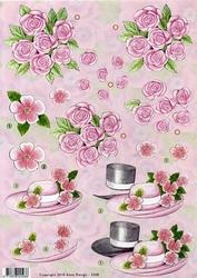 3D Knipvel Anne Design VBK 2508 Hoeden en roze rozen