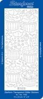Stickervel Starform Transparant Glitter 7042 Cupcakes