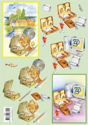 3D Knipvel voorbeeldkaarten 8709 Aktentas/computer/wereldbol