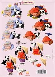 Art Coupure 3D stappenvel 08 kind en pandabeer