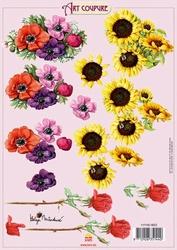 Art Coupure 3D stappenvel 02 zonnebloem roos