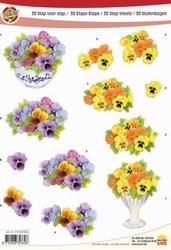 A4 Knipvel Make Me 1006 viooltjes op vaas