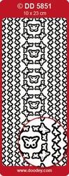 Doodey Stickervel DD5851 Rand en hoek met vlinders