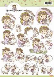 3D Knipvel Yvonne Creations CD10143 Sheep hugs