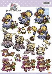 3D Knipvel Yvonne Creations CD10149 Eendenmeisje met tulpen