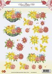 A4 Kerstknipvel Ann's Paper Art CD10116 Flower - Candle