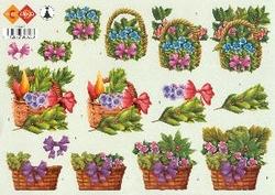 A4 Knipvel Carddeco HJ0323 Mandjes met bloemen