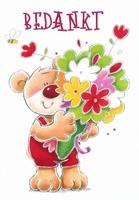 Wenskaart 28 Bedankt Beertje met bloemen