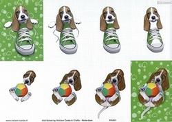 Knipvel A4 Mireille Seasons&Co KA01 Hond in schoen/met bal