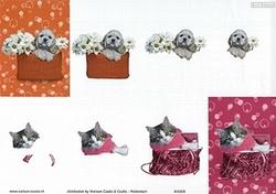 Knipvel A4 Mireille Seasons&Co KA03 Poes in handtas/puppie
