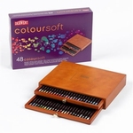 Derwent Coloursoft Luxe 2-laden kist met 48 potloden GEVULD