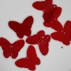 Vlinder pailletten PMG117 transparant rood