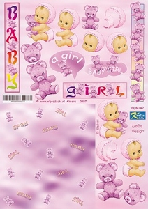 A4 Knipvel Betsy Lurvink GL6042 Baby pink