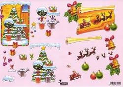 A4 Knipvel Wekon 0001 Kerstboom bij deur/rendieren