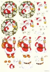 A4 Knipvel Wekon 4994-123 Kerstman in krans
