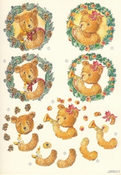 A4 Knipvel Wekon 4994-126 Beertje met kerstkrans