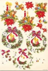 A4 Knipvel Wekon BM0033 Kerststuk gele en rode kaars