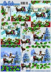 A4 Knipvel Le Suh Kerst 4169402 Ritje met paard in de sneeuw
