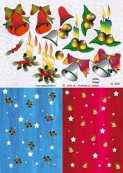 A4 Knipvel Betsy Lurvink GL5009 Achtergrond kaars/kerstklok