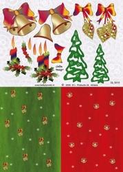 A4 Knipvel Betsy Lurvink Achtergrond GL5010 kerstklok/boom