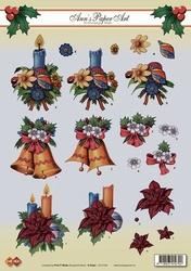 A4 Kerstknipvel Ann's Paper Art CD10164 Klokjes/kaarsen
