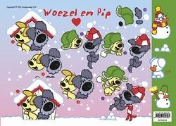 A4 Kerstknipvel Woezel en Pip WP10004 Sneeuwman