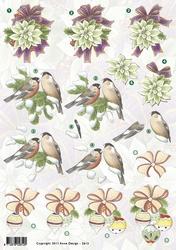 3D Kerstknipvel Anne Design VBK 2612 vogeltjes op den/bollen