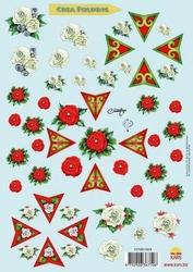 A4 Knipvel Crea folding kerst takje roos