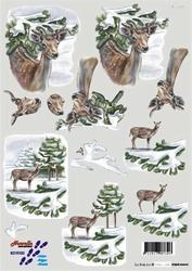 A4 Kerstknipvel Le Suh 8215100 Hert in het winterbos