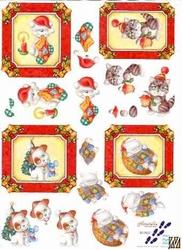 A4 Kerstknipvel Le Suh  821502 Kerstpoezen/beren in kader