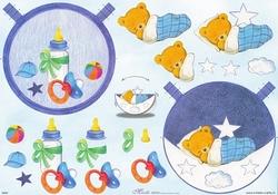 Mireille A4 Knipvel S004 voor schommelkaarten Baby beer bleu
