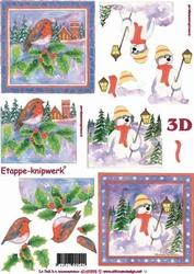 A4 Knipvel Le Suh Kerst 4169395 Roodborstje/sneeuwman