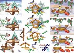 A4 Kerstknipvel Le Suh  821504 vogels in de winter