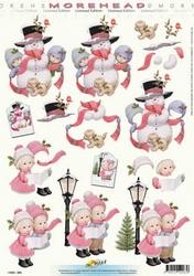 Morehead A4 Kerst Knipvel 063 Kinderen met sneeuwman