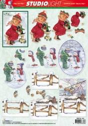 A4 Kerstknipvel Studio Light SL1044 Sneeuwlandschap/meisje
