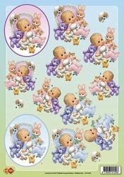 A4 Knipvel Carddeco Matori CD10182 Babies in cirkel